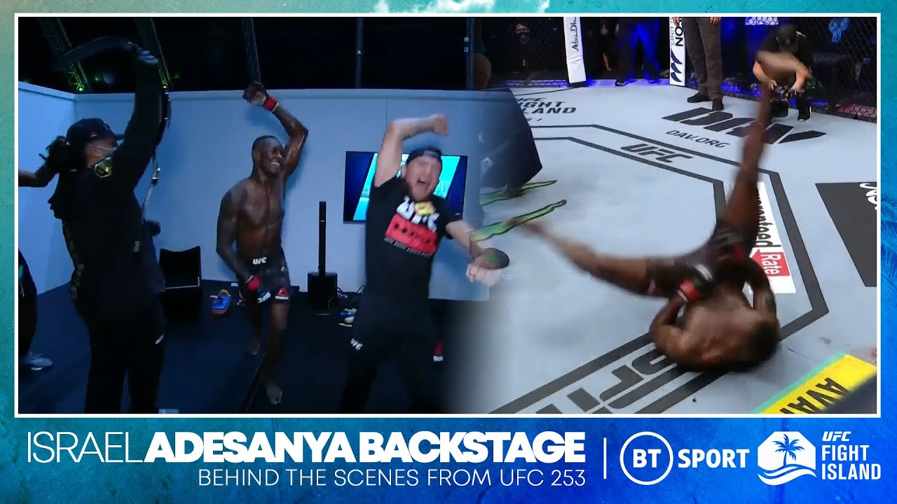 Israel Adesanya break dances next to Paulo Costa and then goes WILD in the dressing room UFC 253 HD quality image