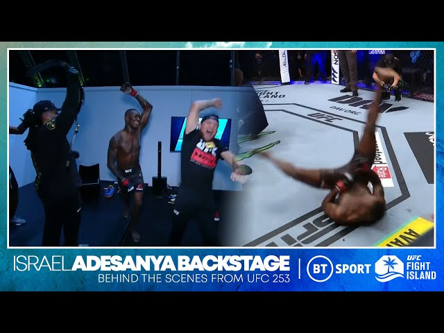Israel Adesanya break dances next to Paulo Costa and then goes WILD in the dressing room UFC 253 HQ quality image
