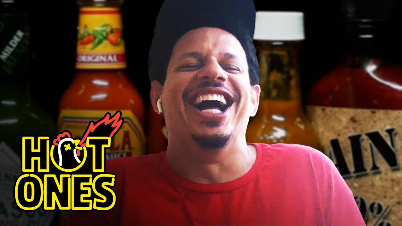 Eric Andre Enters a Fugue State While Eating Spicy Wings Hot Ones HD quality image