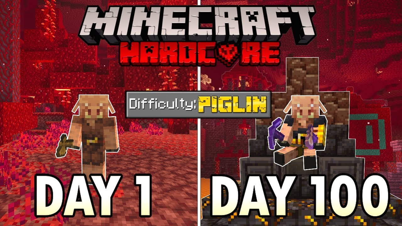 I Survived 100 Days as a PIGLIN in Hardcore Minecraft... Minecraft Hardcore 100 Days HD quality image