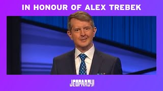 Ken Jennings Honors Alex Trebek In His First Episode as Guest Host JEOPARDY! MD quality image