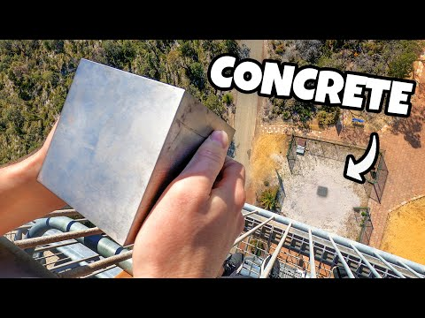 WORLDS HEAVIEST 4 CUBE Vs. CONCRETE from 45m! MQ quality image