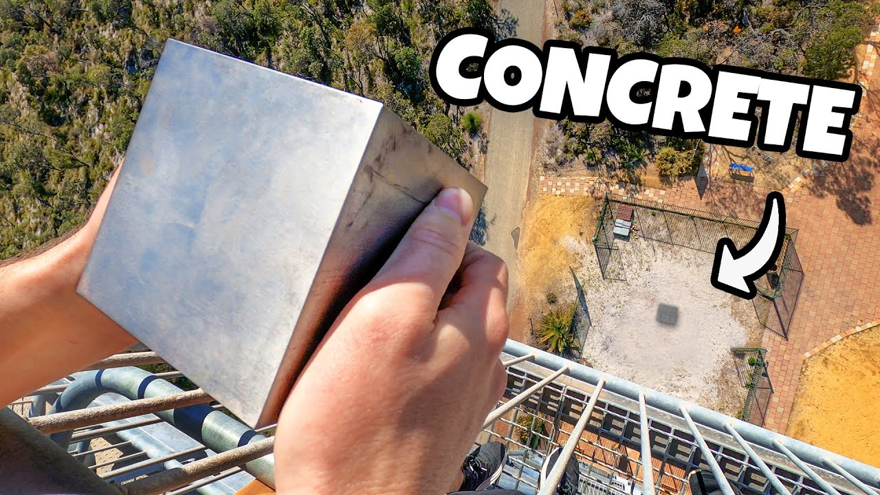 WORLDS HEAVIEST 4 CUBE Vs. CONCRETE from 45m! HD quality image