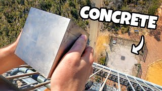 WORLDS HEAVIEST 4 CUBE Vs. CONCRETE from 45m! MD quality image
