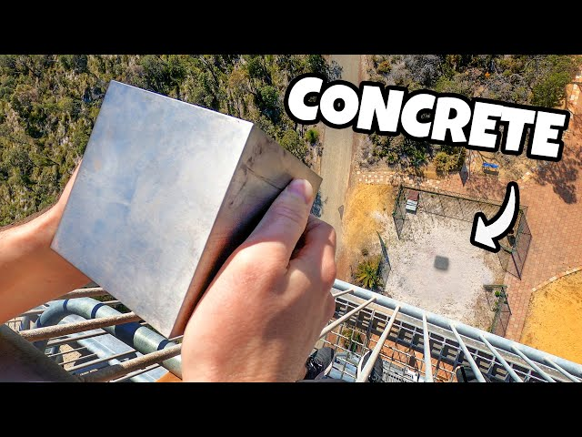 WORLDS HEAVIEST 4 CUBE Vs. CONCRETE from 45m! HQ quality image