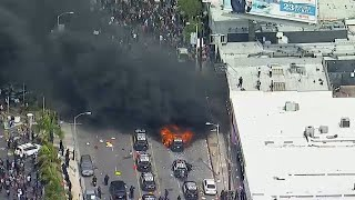 Violence erupts in Los Angeles amid protests over death of George Floyd | ABC7 Los Angeles News Screenshot