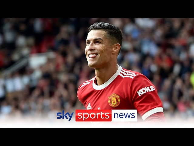 Reaction after Cristiano Ronaldo scores twice on his Manchester United return HQ quality image