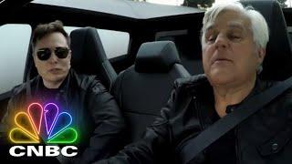 Elon Musk And Jay Leno Hop In The 2021 Tesla Cybertruck | Jay Leno's Garage Screenshot