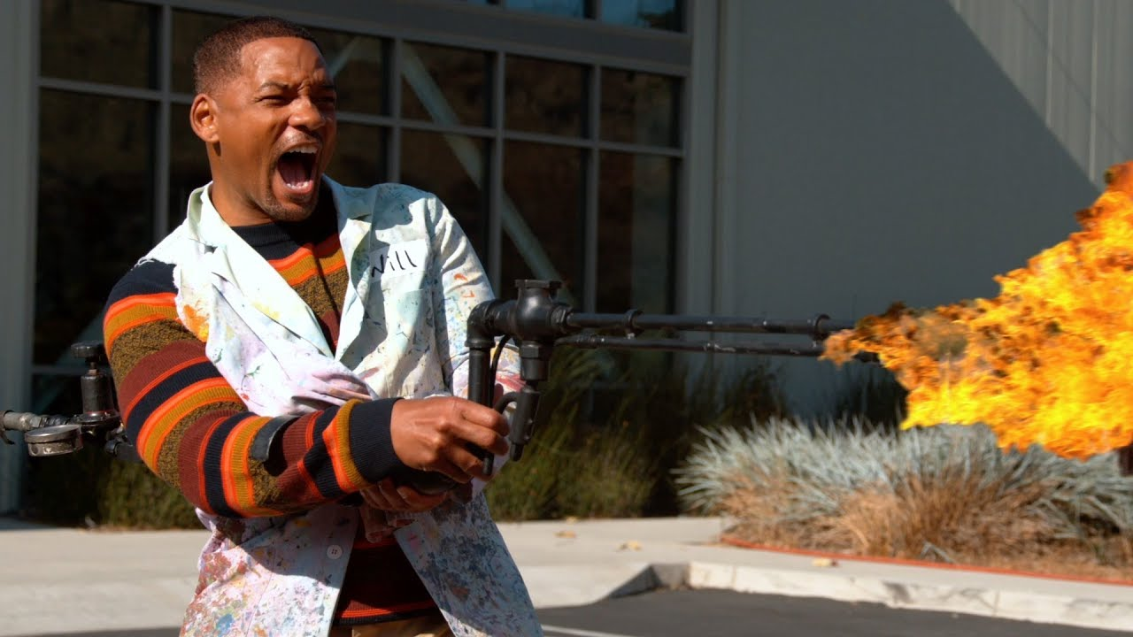 We gave Will Smith a Flame Thrower - The Slow Mo Guys HD quality image