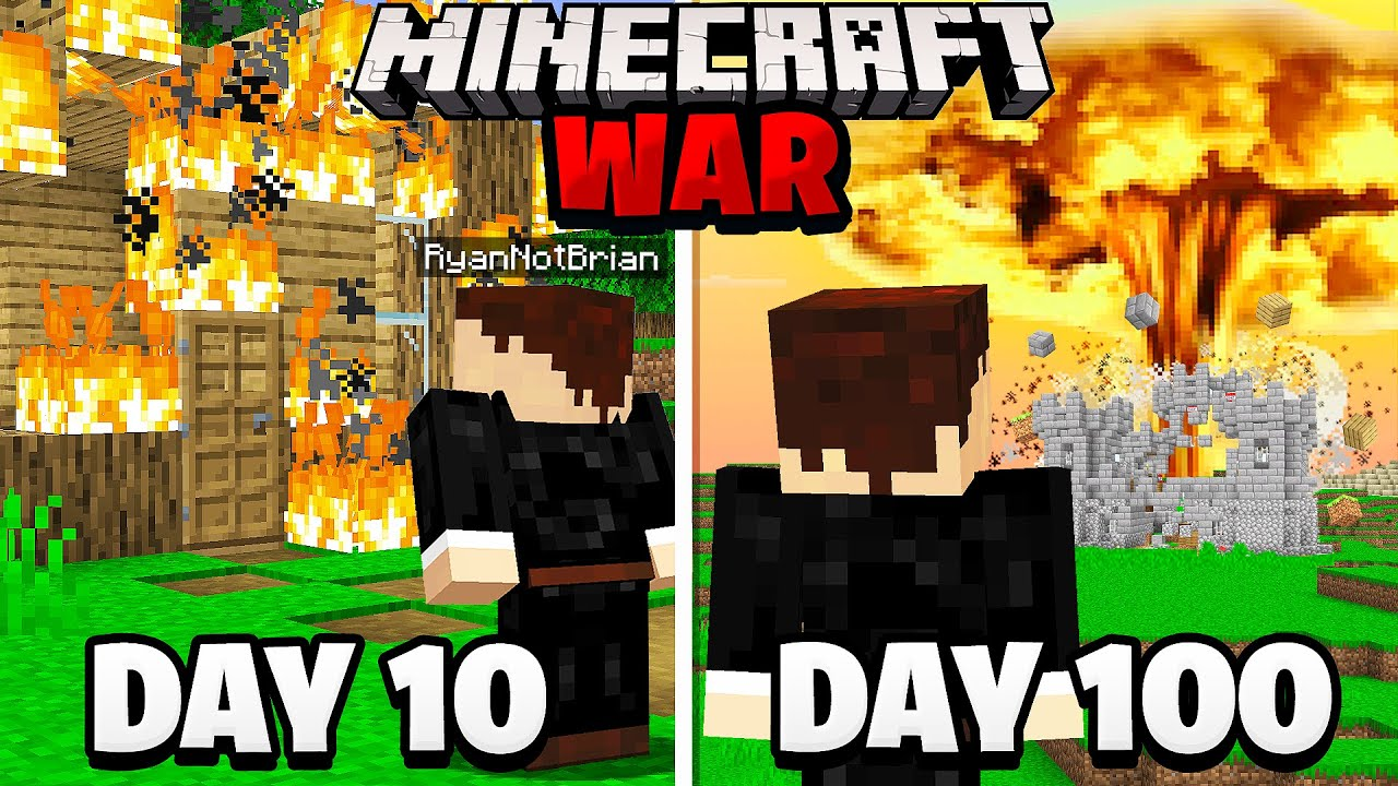 Surviving 100 Days in a Minecraft WAR.. here's what happened HD quality image