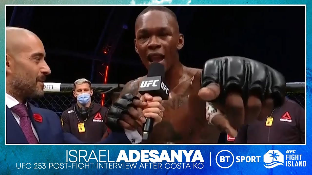 Israel Adesanya drops bombs on the mic after knockout win over Paulo Costa UFC 253 HD quality image
