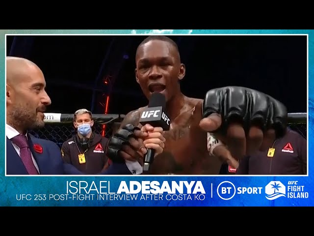 Israel Adesanya drops bombs on the mic after knockout win over Paulo Costa UFC 253 HQ quality image