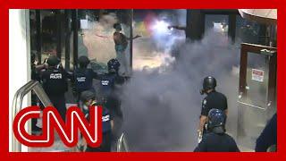 Violent George Floyd protests at CNN Center unfold live on TV Screenshot
