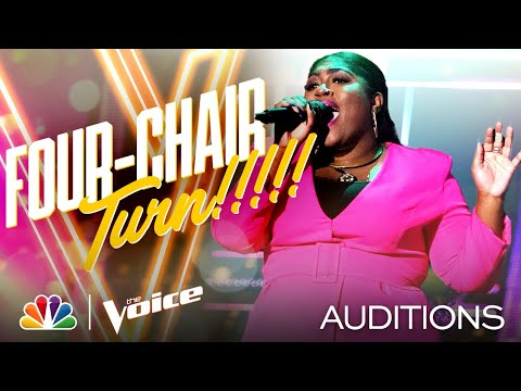 Tamara Jade Performs Lizzos Cuz I Love You and Gets a Four-Chair Turn - The Voice Blind Auditions MQ quality image
