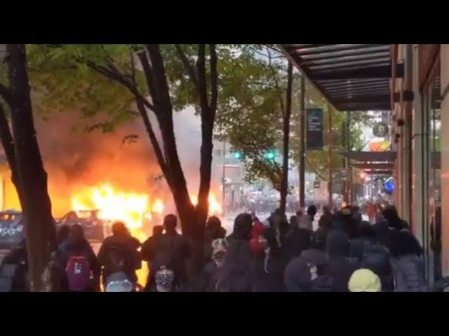 WATCH: Violent protests in downtown Seattle Saturday after rally over George Floyd's death HQ quality image