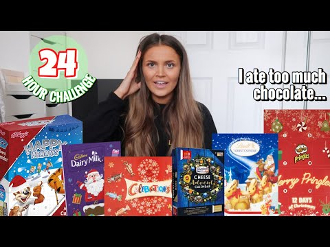 Eating ONLY christmas ADVENT CALENDAR food for 24 HOURS! MQ quality image