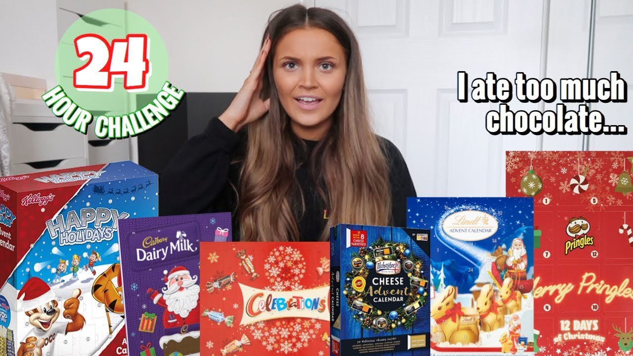 Eating ONLY christmas ADVENT CALENDAR food for 24 HOURS! HD quality image