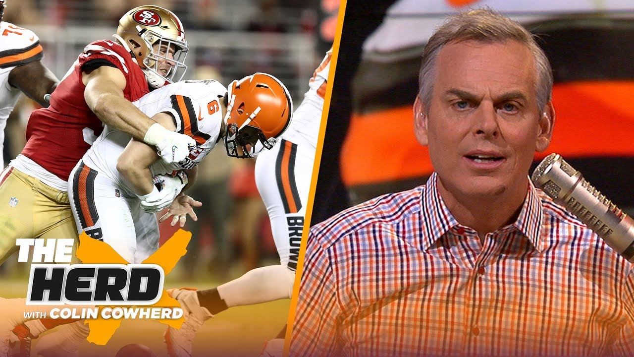 Colin reacts to Browns' 31-3 shellacking by the 49ers & says team should trade OBJ NFL THE HERD HD quality image