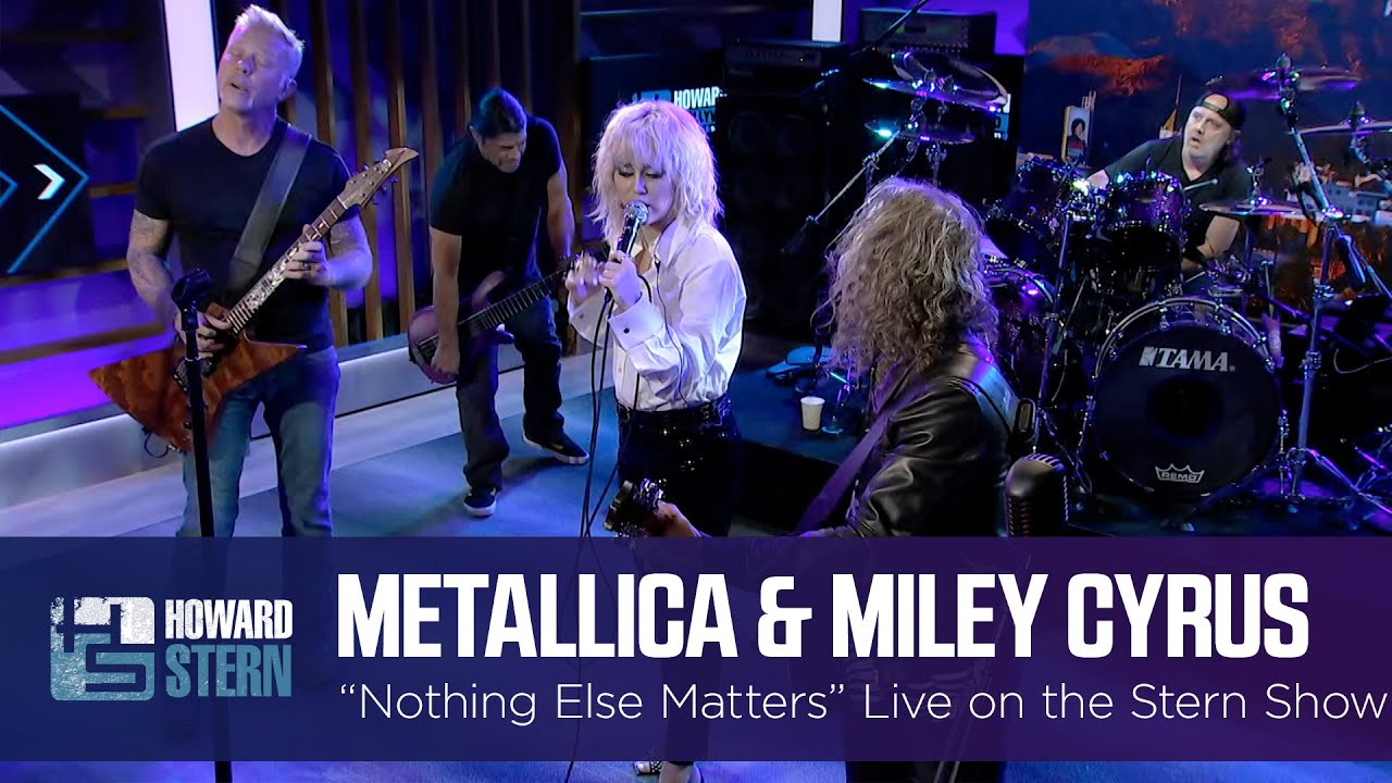 Miley Cyrus and Metallica Nothing Else Matters Live on the Stern Show HD quality image