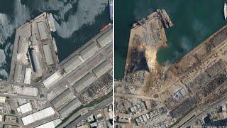 Satellite images show scale of Beirut blast Screenshot
