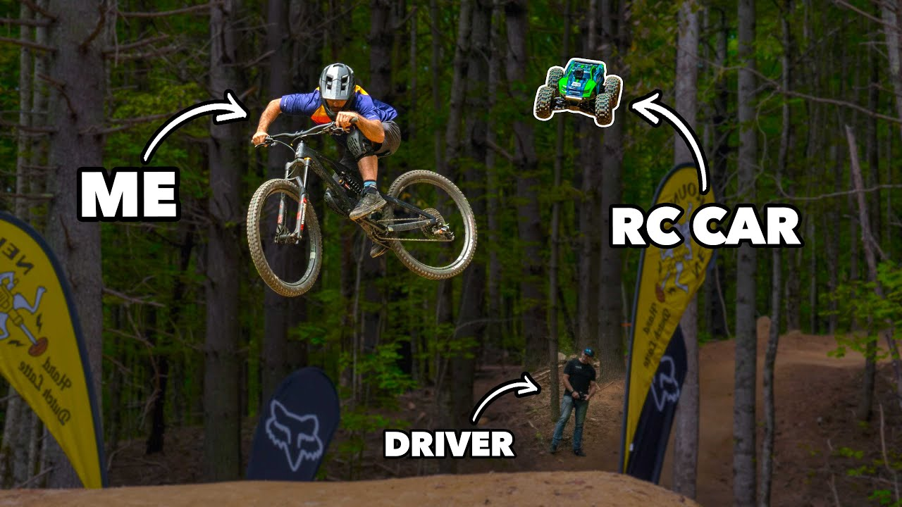 What could go wrong? Riding mountain bikes with an RC car HD quality image
