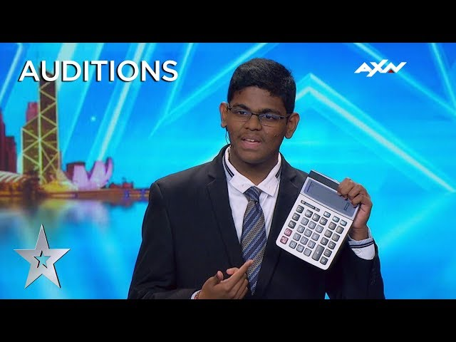 15 Year Old YAASHWIN SARAWANAN Is A HUMAN CALCULATOR! Asia's Got Talent 2019 on AXN Asia HQ quality image