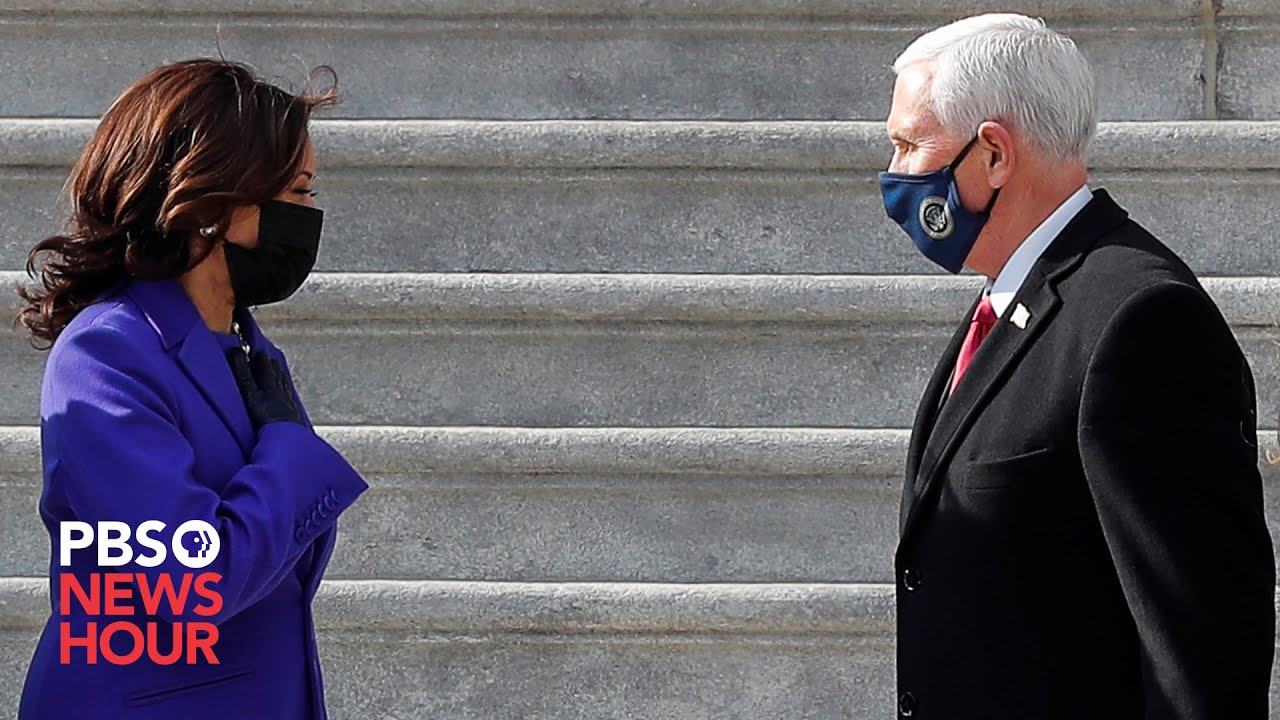 WATCH: Harris escorts the Pences as they depart U.S. Capitol HD quality image
