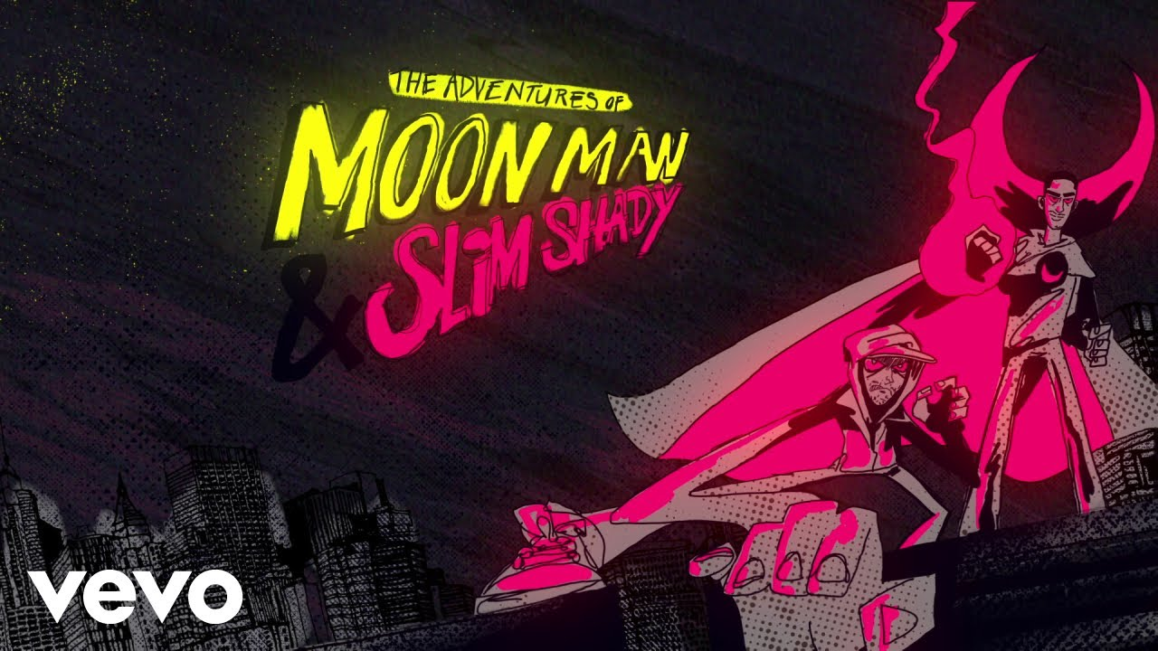 Kid Cudi, Eminem - The Adventures Of Moon Man & Slim Shady (Lyric Video) HD quality image