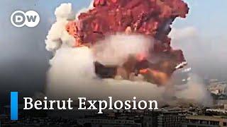 Beirut explosion - Multi-angle footage   DW News Screenshot