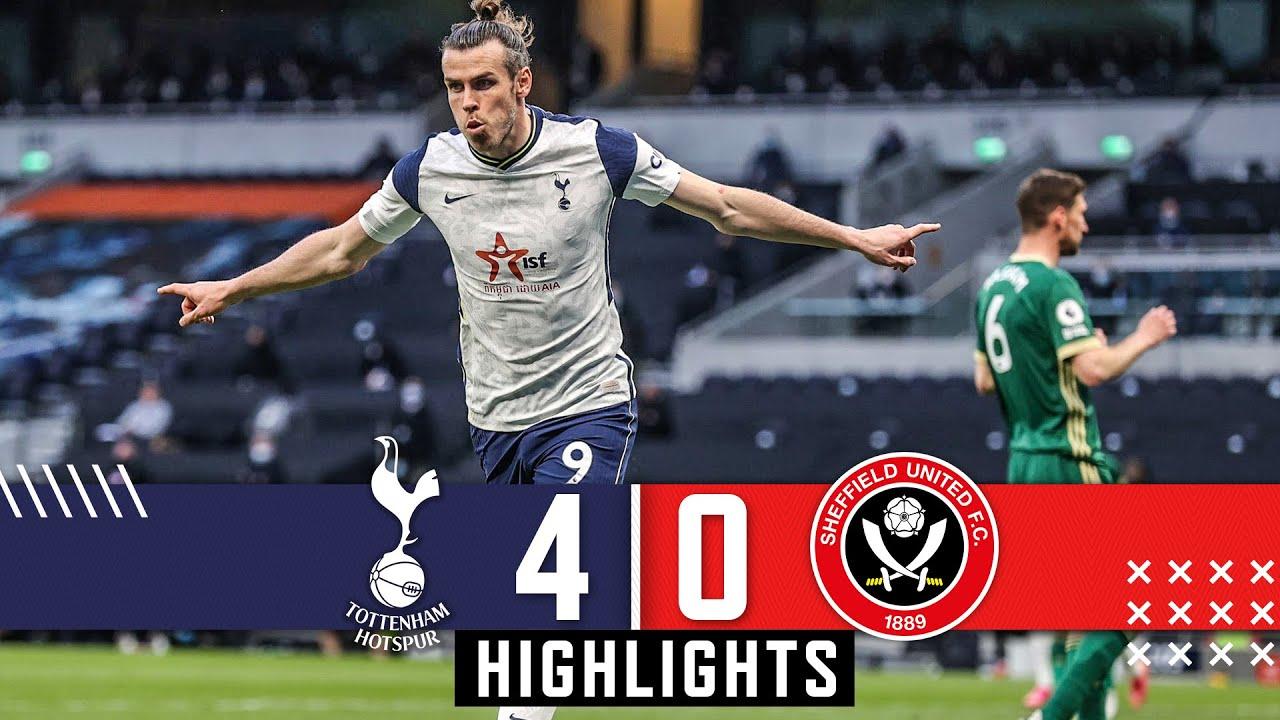 Tottenham Hotspur 4-0 Sheffield Utd Premier League highlights Gareth Bale Hat Trick downs Blades HD quality image